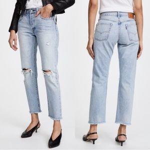 Levi's Selvedge Hem 501 Ankle Distressed Jeans